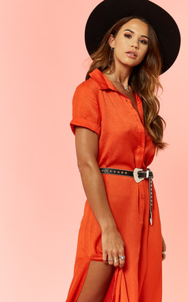Orange Shirt Dress With Side Slits by Glamorous