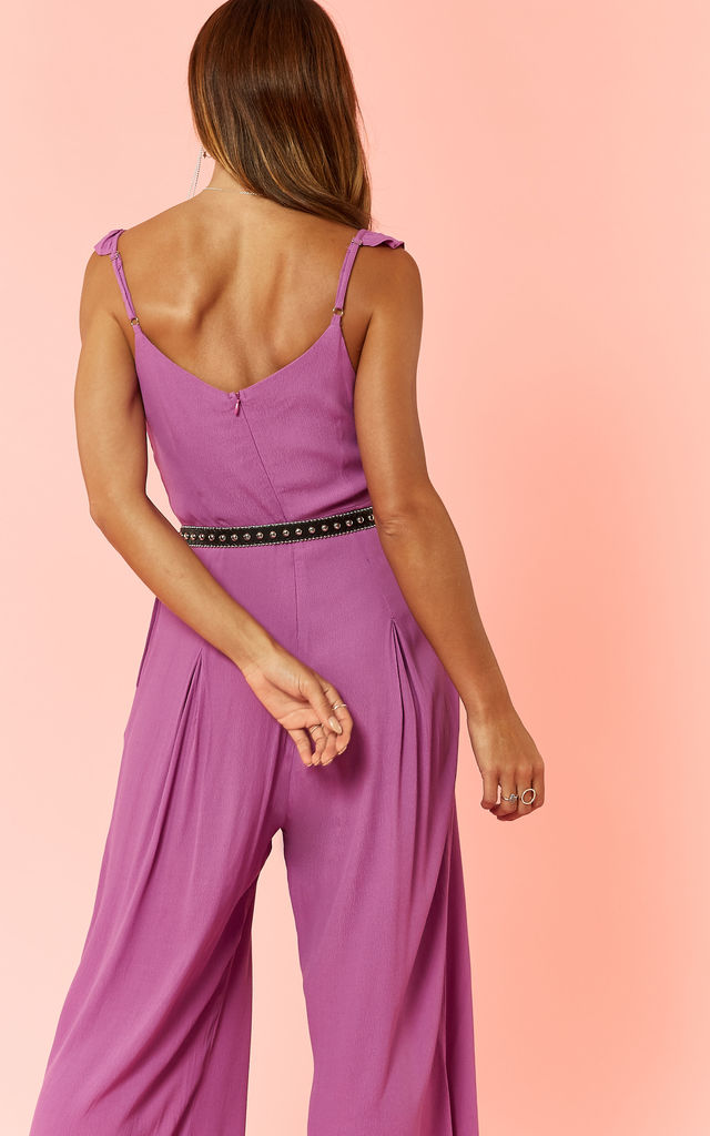 Orchid Button Front Jumpsuit With Frill Strap Detail by Glamorous