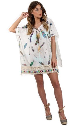 White Feather Print Lace Tassel Trim Kaftan Top by Urban Mist