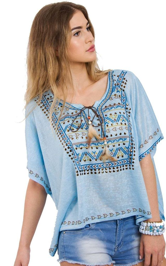 Blue Aztec Feather Tassel Boho Top by Urban Mist
