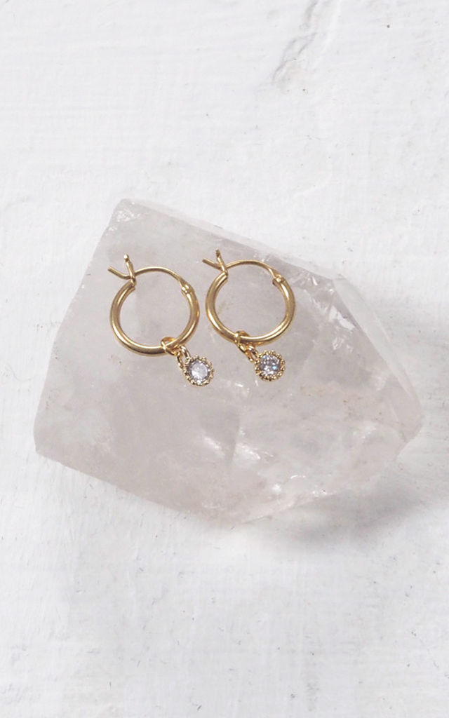 MARGOT. Gold Tiny Cubic Zirconia Hoop Earrings by Aluna Mae