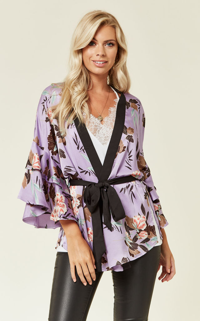 Oriental Floral Print Frill Kimono by Another Look