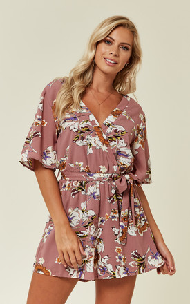 Dusky Pink Floral Print Playsuit by Oeuvre