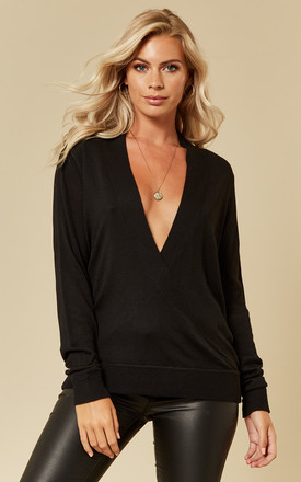 Black Long Sleeve Wrap Knit Top by VILA Product photo