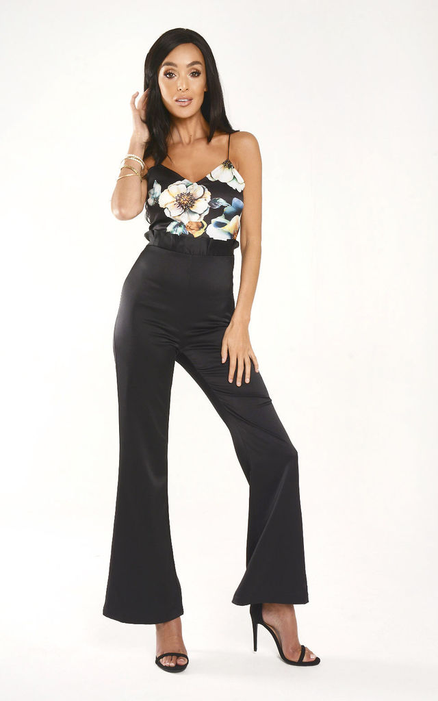 big clearance sale discover latest trends moderate cost Floral Print And Black Wide Leg Jumpsuit By Lady Flare
