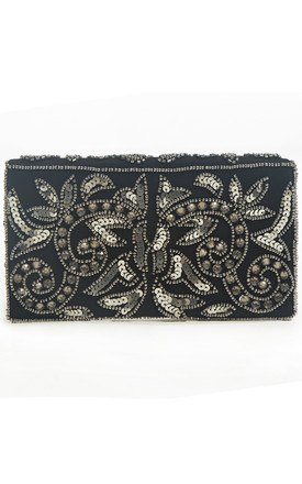Victoria Small Embellished 1920s Black Purse Clutch Bag by Jywal
