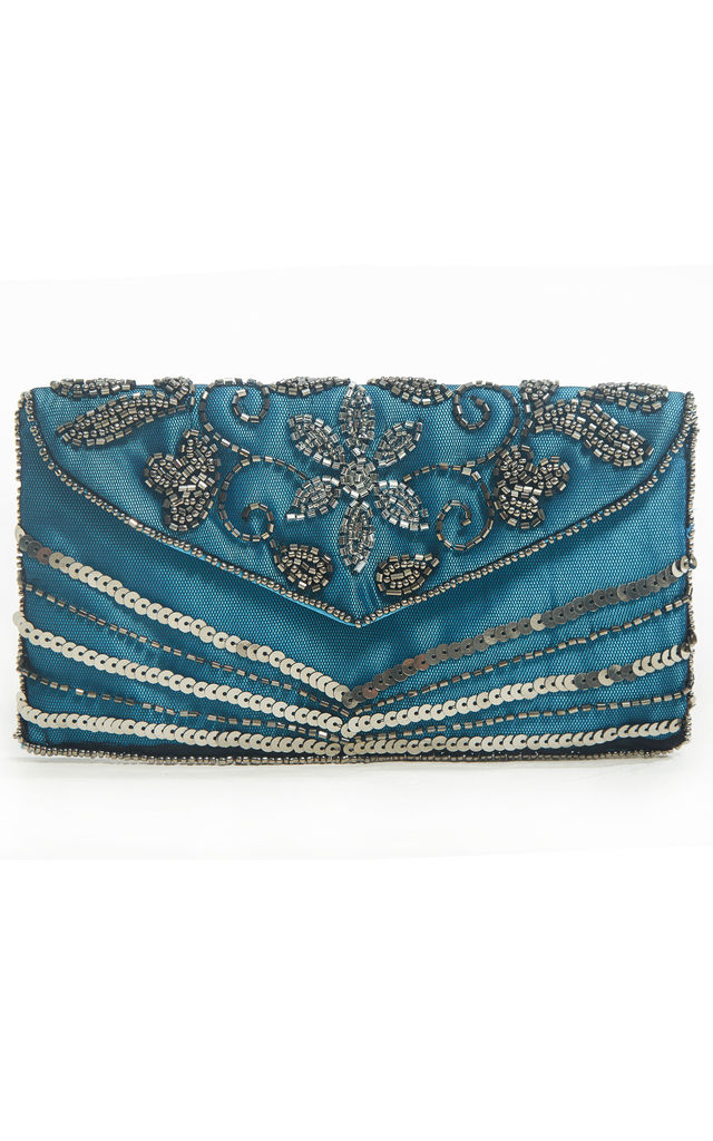 Victoria Blue Beaded 1920s Small Clutch Purse Bage by Jywal