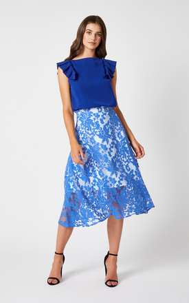 Morgan Cobalt Floral Midi Skirt by Vesper247