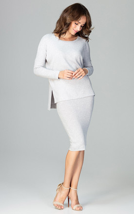 Grey Blouse With a Skirt Co-ords by LENITIF