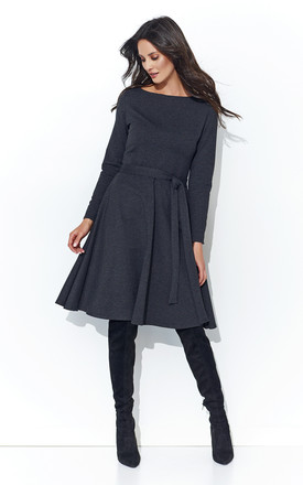 Graphite Long Sleeve Front Bow Midi Dress by Makadamia Product photo