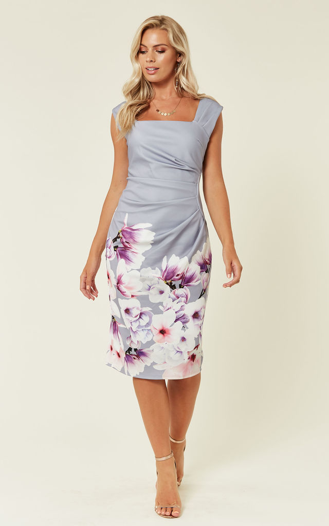 Grey Floral Print Midi Dress by DIVINE GRACE