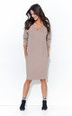 Cappuccino Simple V Neck Dress With Pockets by Makadamia