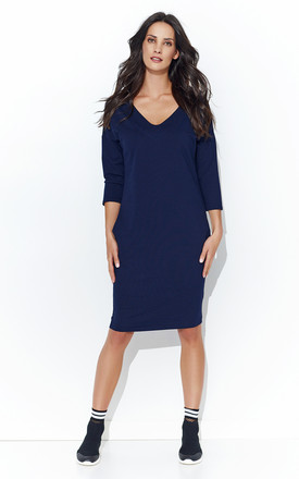 Navy Blue Simple V Neck Dress With Pockets by Makadamia Product photo