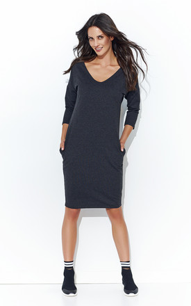 3a874b1f5392 Graphite Simple V Neck Dress With Pockets