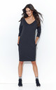 Graphite Simple V Neck Dress With Pockets by Makadamia