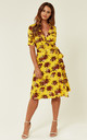Yellow Country Bouquet Vintage Wrap Dress by Ruby Rocks