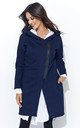 Navy Blue Hooded Sweater With Contrast Zip by Makadamia