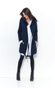 Navy Blue Long Hoodie Without Fastening by Makadamia
