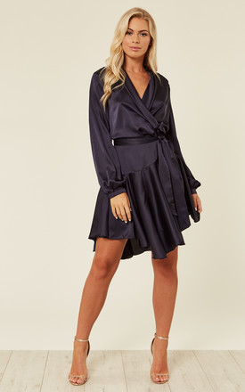 Silky Navy Wrap Dress by Another Look Product photo