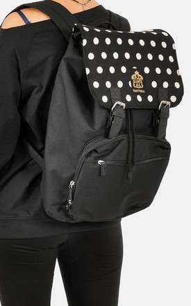Polka dot panel laptop backpack by The Left Bank