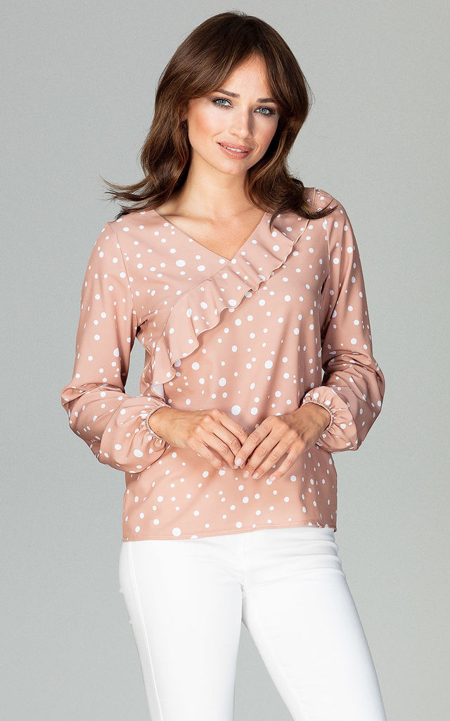 Long Sleeve Blouse With Frill In Blush Polka Dot by LENITIF