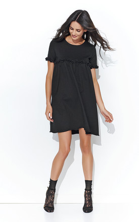 Black Flared Dress With Flounce Inserts by Makadamia Product photo