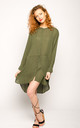 Oversized Long Sleeve Dress in Khaki Green by CY Boutique