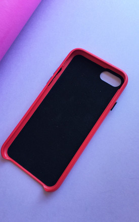 Red PU leather embossed phone case by Rianna Phillips