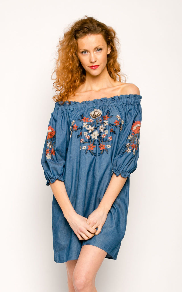 f439430984 Off Shoulder Dress with Floral Embroidery in Light Denim Blue by CY Boutique