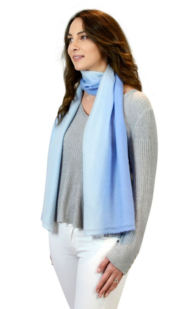 Blue ombre 100% cashmere scarf stole 180x 30cm by Mimi & Thomas® cashmere & leather