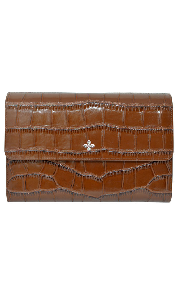 Brown Crocodile Embossed Leather Travel Wallet Organiser Purse by Mimi & Thomas® cashmere & leather