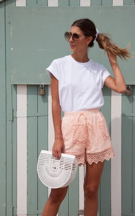 Peachy Pink Crochet Lace Cotton Shorts by Styled In London Product photo