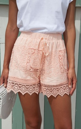 Peachy Pink Crochet Lace Cotton Shorts by Styled In London