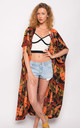 Multi leaves print kaftan cardigan by CY Boutique