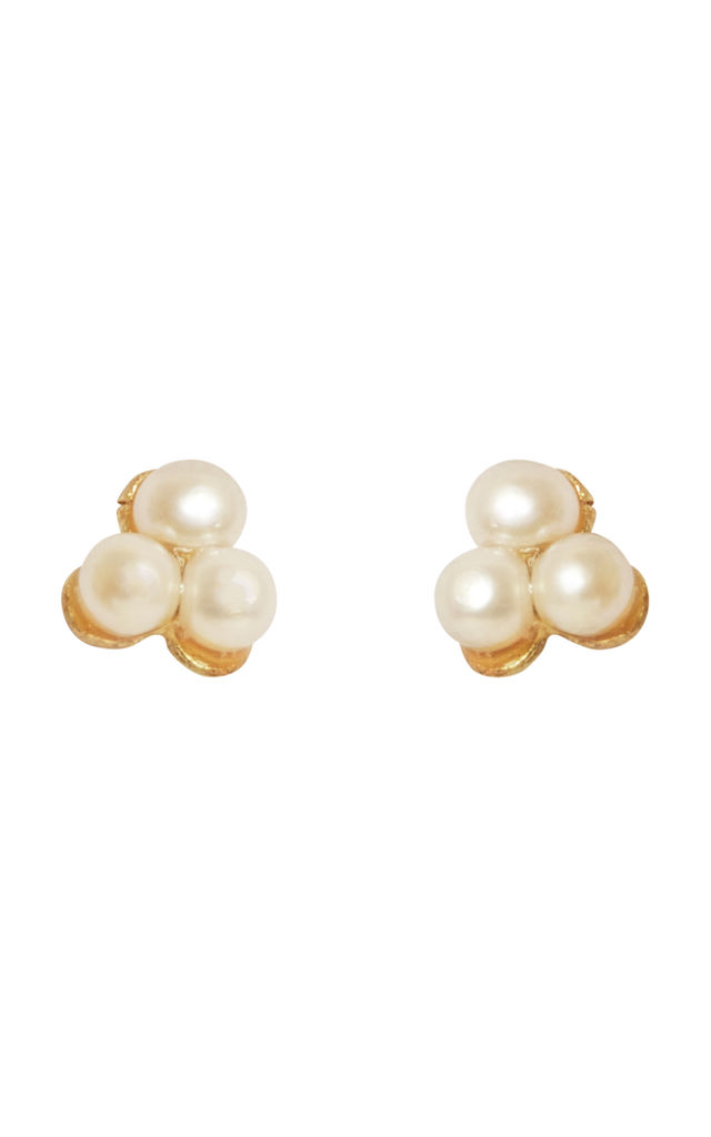 Tiny Pearl Stud Earrings on Solid Gold by Lily Flo Jewellery