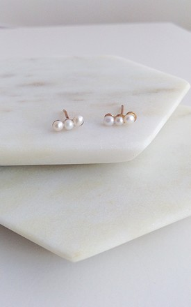 Pearl Bar Stud Earrings on Solid Gold by Lily Flo Jewellery