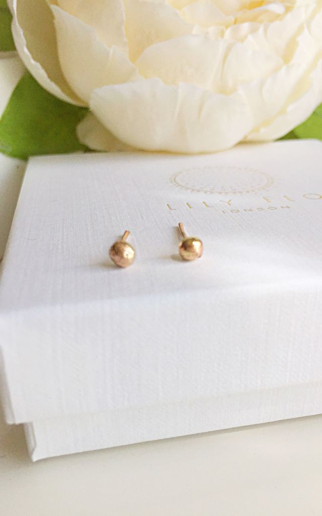 Solid Gold Ball Stud Earring by Lily Flo Jewellery
