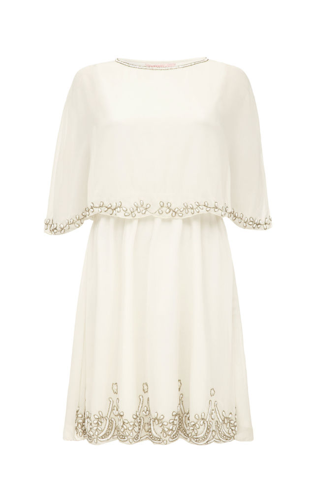 Gloria Cape Dress in Off White by Gatsbylady London