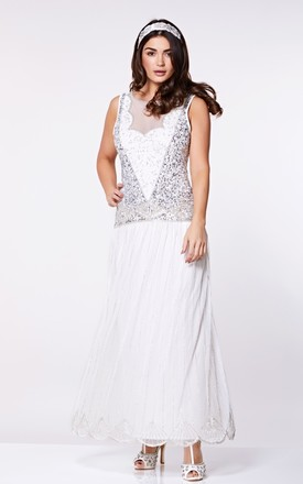 Elaina Drop Waist Flapper Maxi Dress in Off White by Gatsbylady London