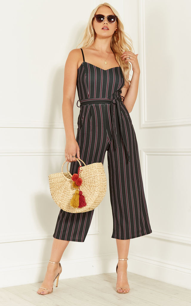 Black With Purple Stripe Culotte Jumpsuit by Bella and Blue
