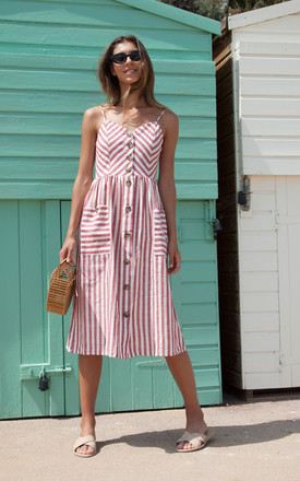 Red Stripe Linen Button Down Midi Dress by Styled In London Product photo