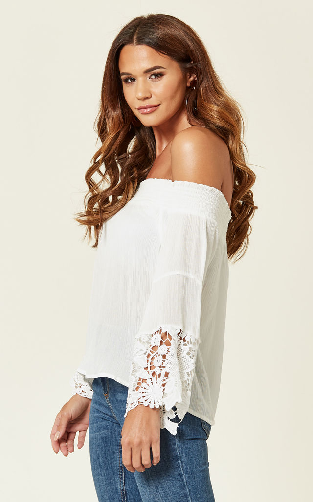 White Off-shoulder Lace Sleeved Top by ROSELLIN