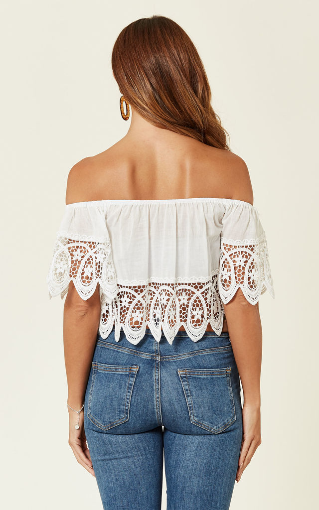 Cropped Lace Detail Off-shoulder Top by ROSELLIN