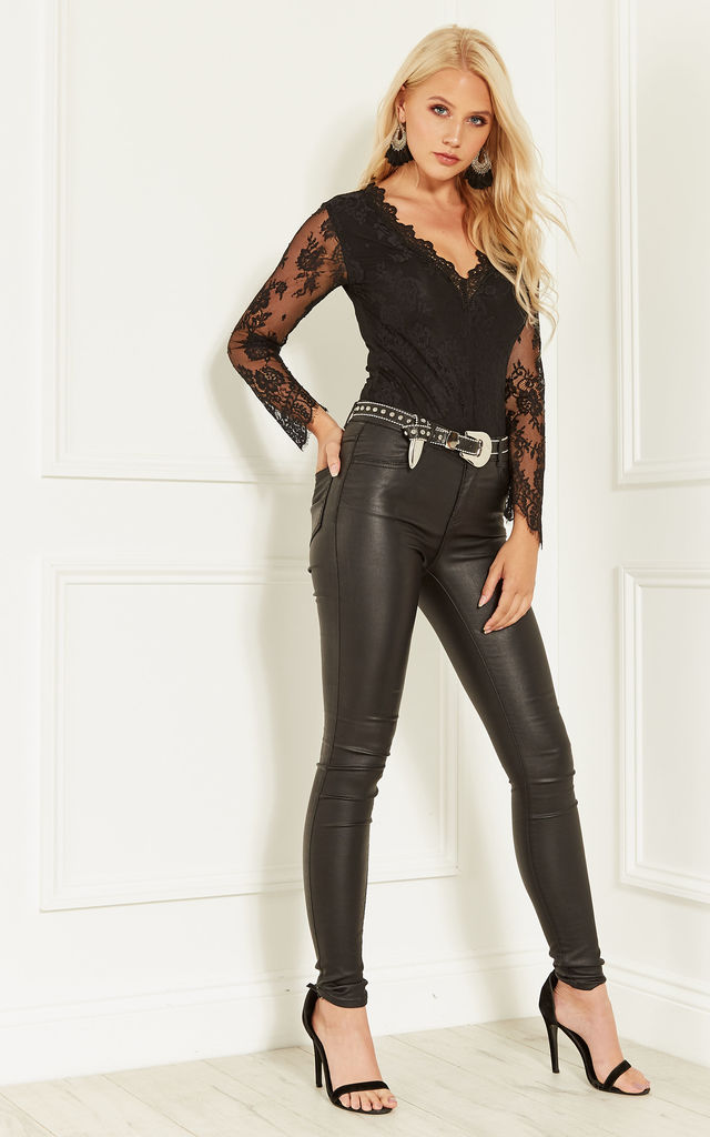 Black Bodysuit with Lace Trim and Sleeve Detail by Bella and Blue