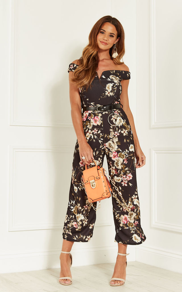 Black Floral Print Jumpsuit With Tie Waist by Bella and Blue