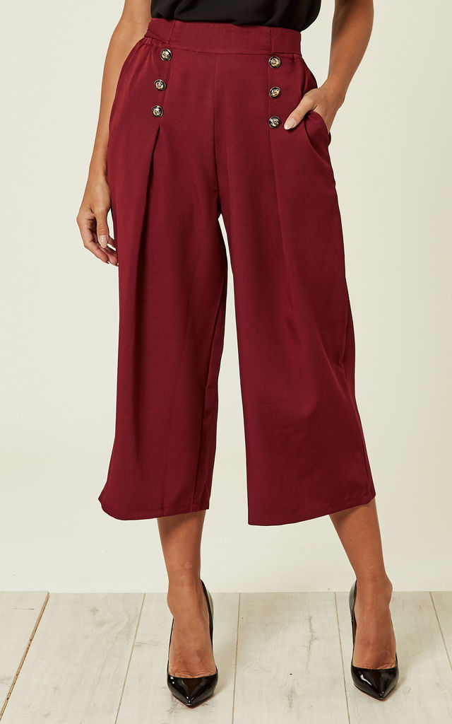 Wine Button Detail Culotte Trouser by MISSI LONDON