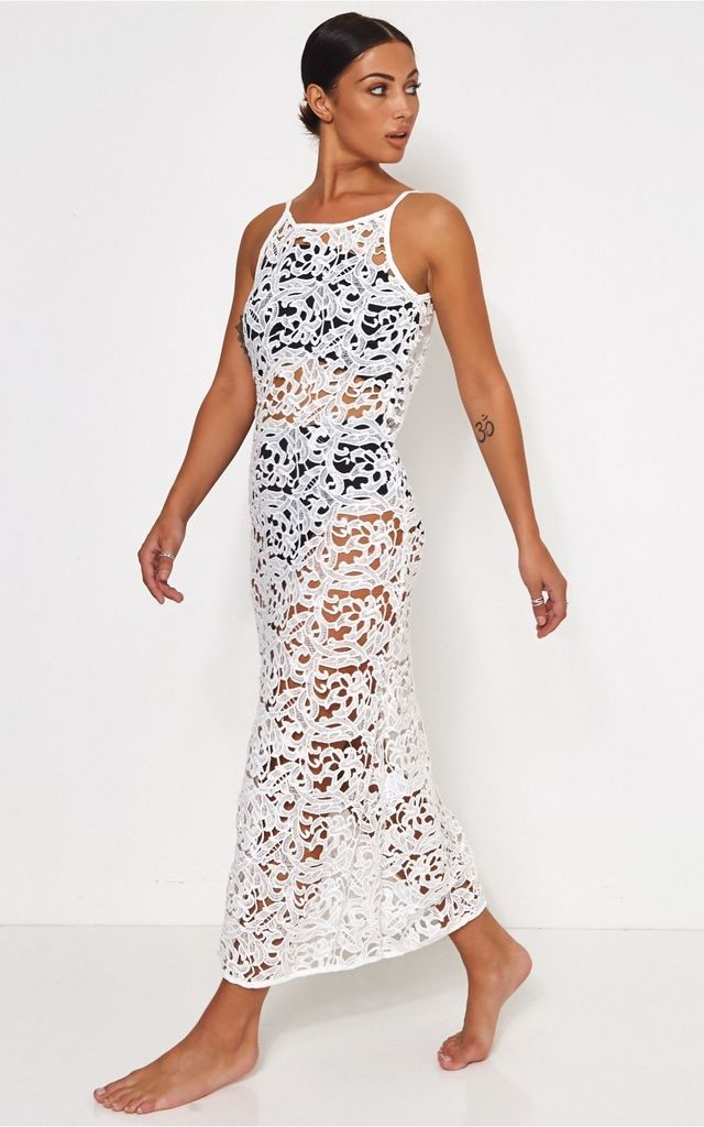 Ibiza Luxe White Crochet Beach Cover Up The Fashion Bible Silkfred