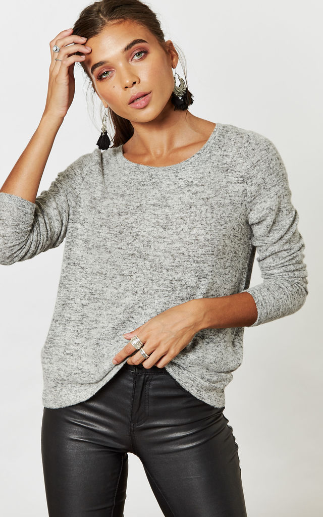 Light Grey Melange Long Sleeve High Low Knit by Noisy May