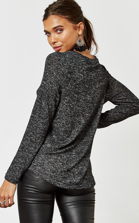 Black Long Sleeve High Low Knit by Noisy May