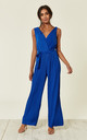 Royal Blue Pleated Culotte Jumpsuit by DIVINE GRACE